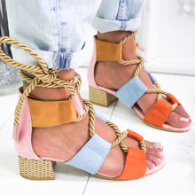 Women Sandals 2019 Women Heels Shoes For Gladiator Sandals Women High Heels Summer Shoes Woman Lace Up Peep Toe Chaussures Femme