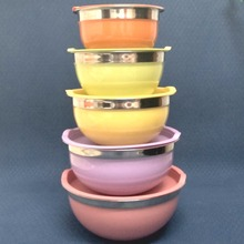 Free Shipping Supreme Quality Colorful Coating Stainless Steel Mixing Bowls with Lids, Set of 5 (00297)