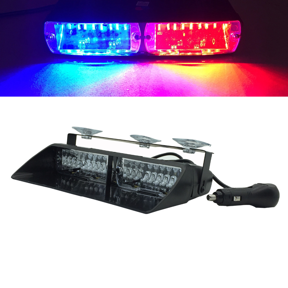 16 LED flash light 16Led Red blue flash strobe Emergency EMS Police Warning light Flashing firemen Led lights in Car DC12V