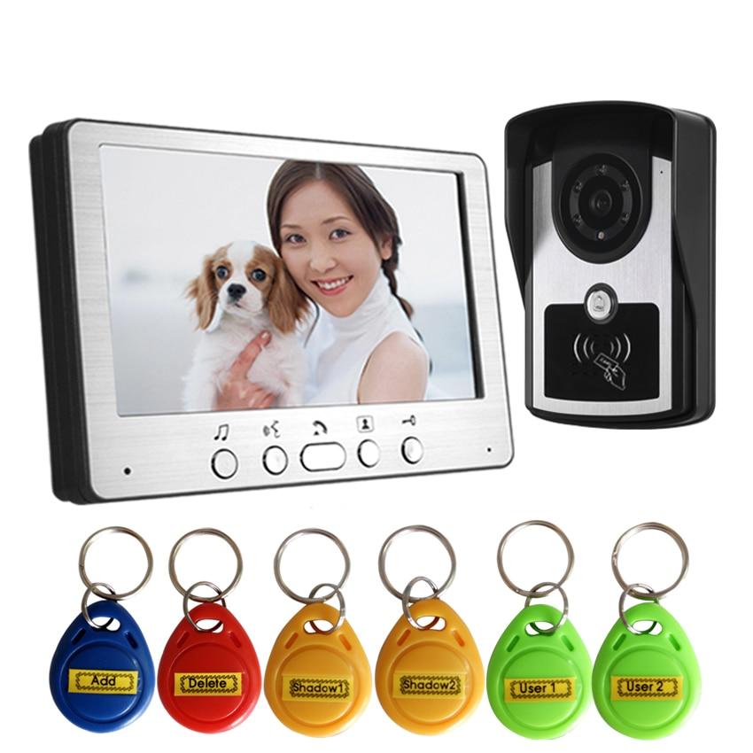"Rfid Keyboard Video Intercom Home Video Door Phone IP55 Waterproof Camera Color Monitor 7"" Video Door Bell Kit-in Video Intercom from Security & Protection"