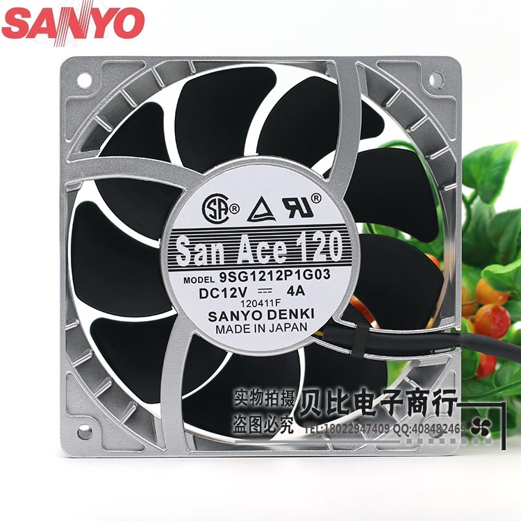 Sanyo 9SG1212P1G06 9SG1212P1G03 12cm high temperature fan speed fan violence 12038 12V 4A powerful 120*120*38mm delta new ffr1212dhe 12038 12cm super fan 12v 6 3a car booster fan violence 120 120 38mm