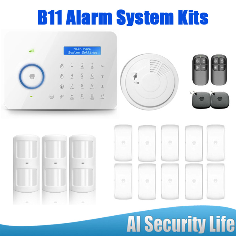 Hot selling  B11 Dual network PSTN and GSM Alarm Security System LCD Display Wireless Door Sensor For GSM Alarm System etiger hot selling b11 dual network pstn and gsm burglar security alarm system 315