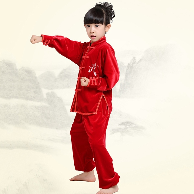 Drop Shipping Kids Martial Arts Uniform Tai Chi Kung Fu Wu Shu Clothing Suits Competition Performance Costume Solid Color