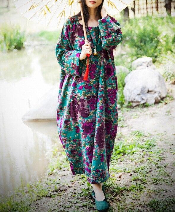 2015 Autumn New Plus Size Women Flowers Cotton Linen Dress Long Sleeve Vintage Loose Floral Printed
