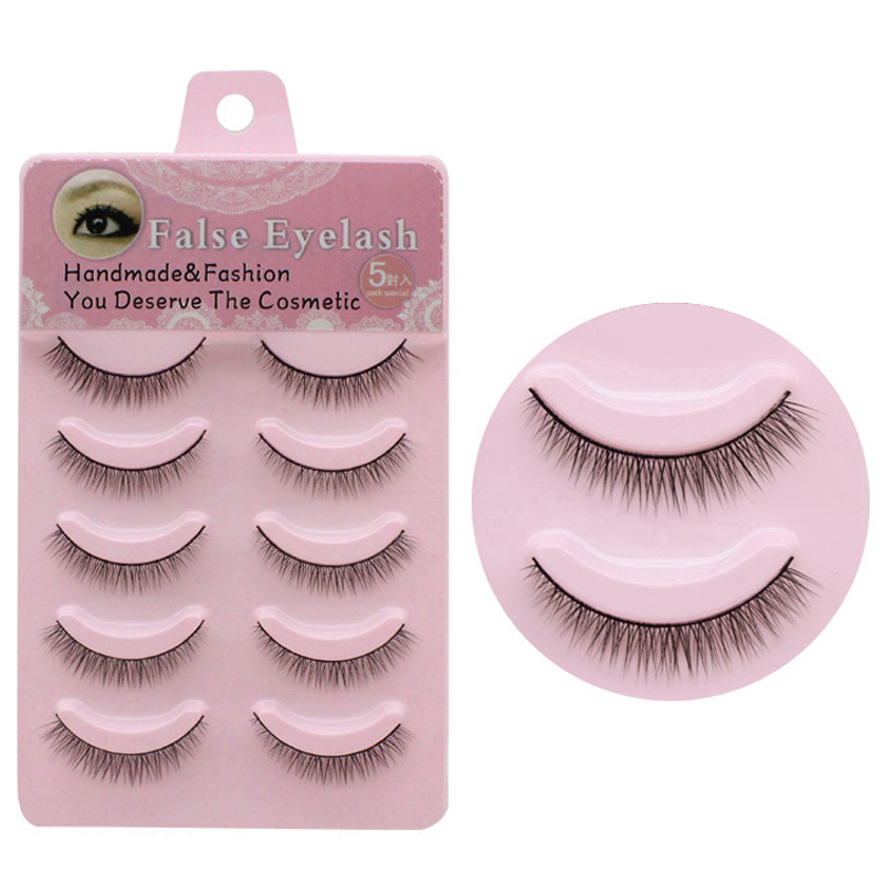 YOKPN Fashion Natural Short Fake Eye Lashes 1 Box 5 Pairs Crisscross False Eyelashes Handmade Professional Beauty Makeup Eyelash