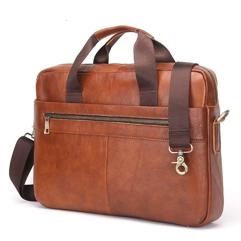 2017 Business Genuine Leather Men Briefcase Cowhide Men's Messenger Bags 14 Laptop Business Bag Luxury Lawyer Handbag