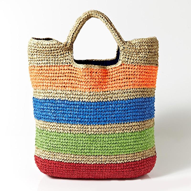 46*38cm Very Big Striped Straw Bag Beach Travel Holiday Crochet Bag French Ball Flag Bag A2845 Shoulder Bags Luggage & Bags