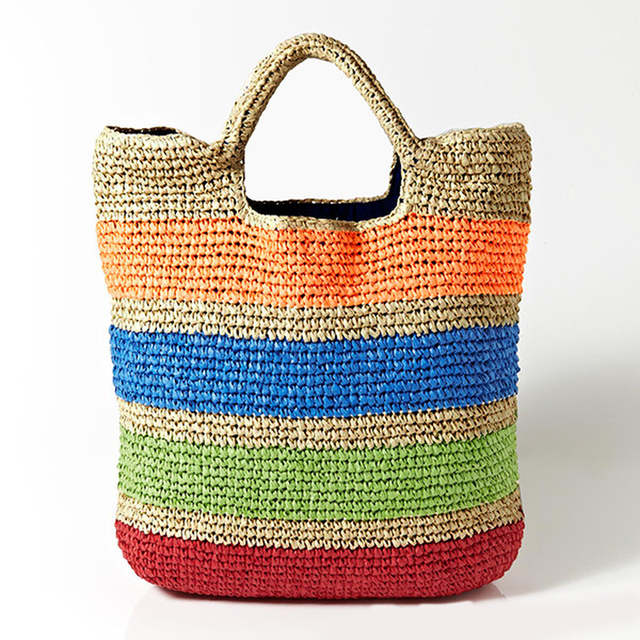 Fashion Crochet Summer Colorful Straw Beach Tote Bag