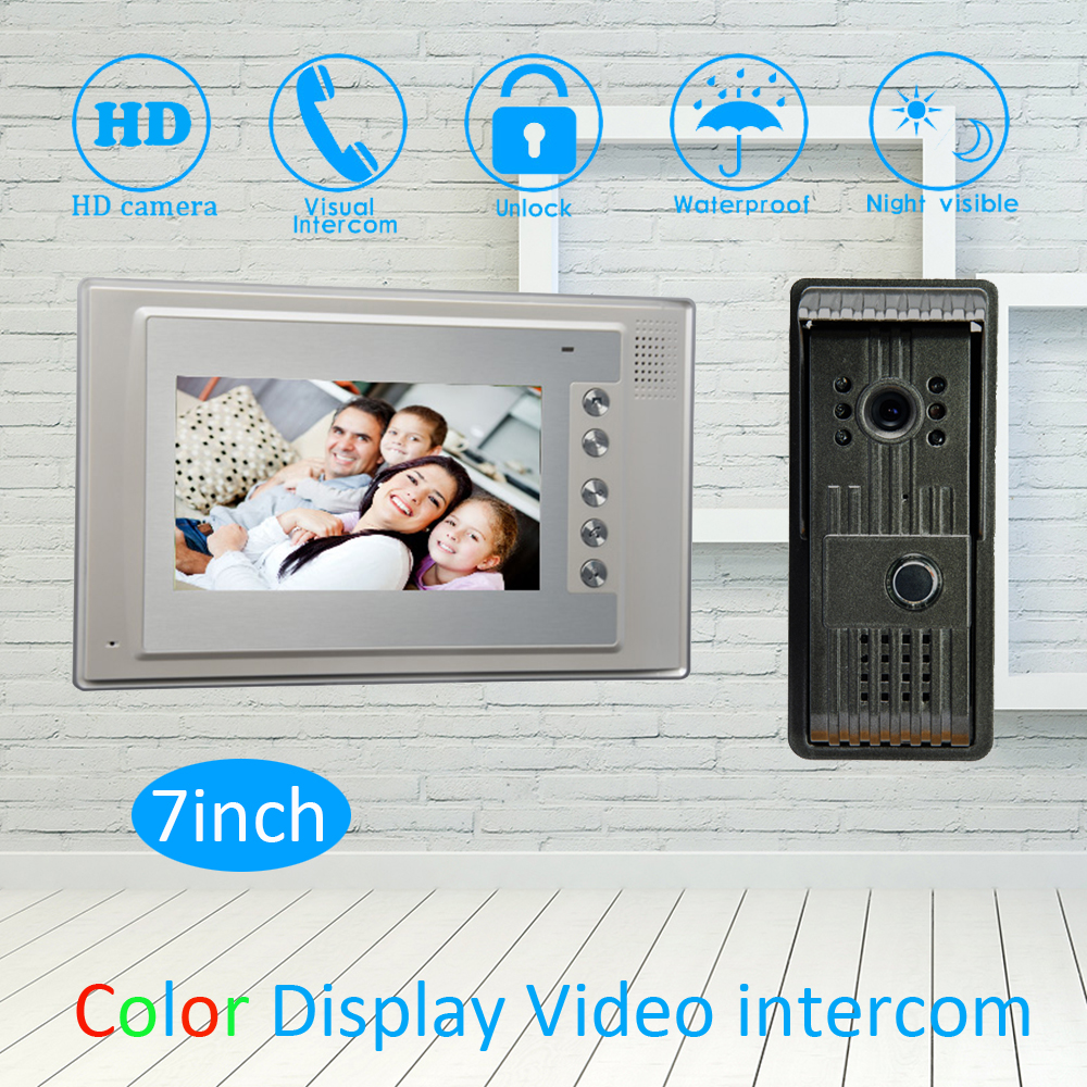 (1 Set) 7 inch LCD Monitor Aluminium Alloy Surface mounted Video Door Phone Waterproof Outdoor unit HD Camera Night vision