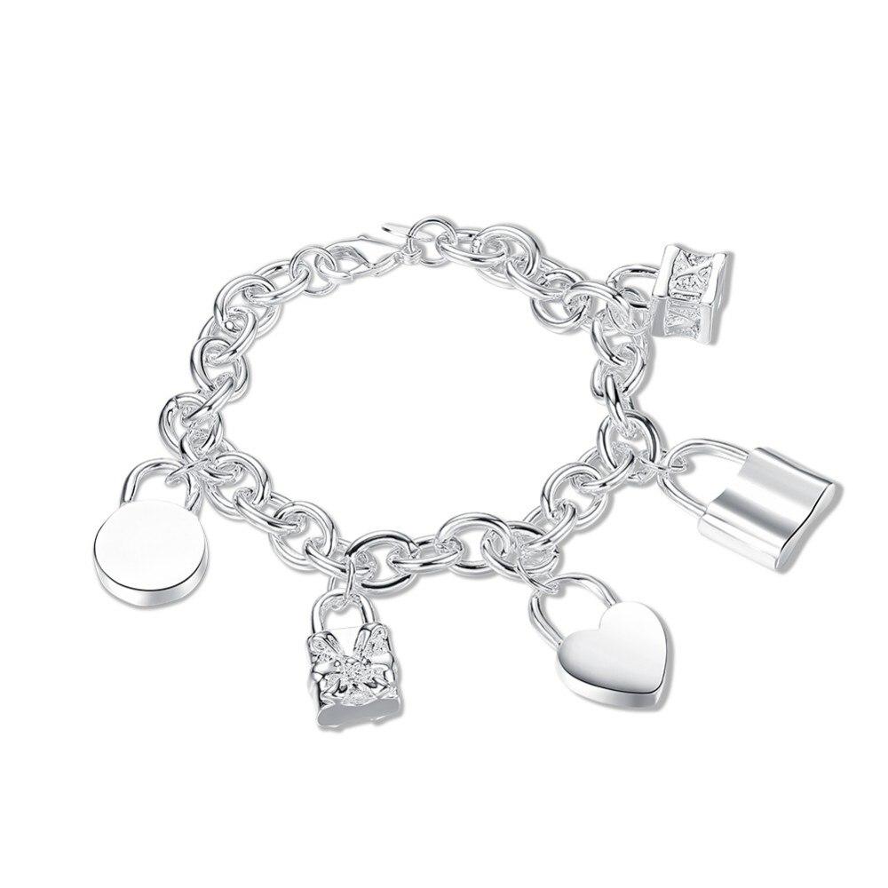 39e7b0c7019 Cinco estilos de Fechaduras encantos pulseiras bangles 2017 nova meninas  corações design amigo navio 925 carimbado banhado a prata pulseira do Sexo  Feminino