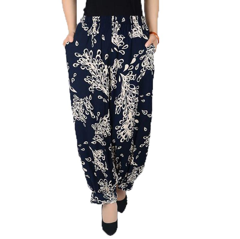 Summer Style Plus Size Flower Print Women   Pants   &   Capris   Elastic Waist Loose Colorful Casual Women's   Pants   AE1283
