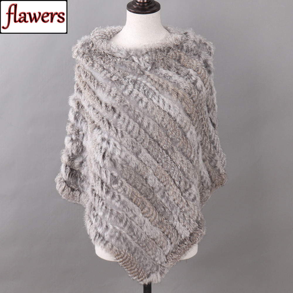 Autumn Winter Lady Genuine Knitted Rabbit Fur Poncho Wrap Scarves Women Natural Rabbit Fur Shawl Triangle Cape Wholesale Retail-in Women's Scarves from Apparel Accessories