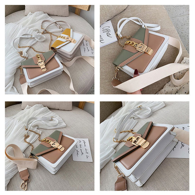Contrast Color Leather Crossbody Bags  4