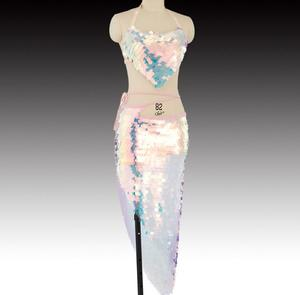 Image 1 - 블링 블링 인어 밸리 댄스 의상 세트 여성 밸리 댄스 브래지어 스커트 전문 복장 2pcs 핑크 스팽글
