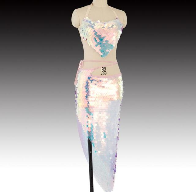 블링 블링 인어 밸리 댄스 의상 세트 여성 밸리 댄스 브래지어 스커트 전문 복장 2pcs 핑크 스팽글