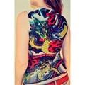 Diseño de tatuaje de Dragón Chaleco Hombres Tank Top Camiseta de La Manera de Las Mujeres sin mangas De Moda Puerta Nueva Singlete Chaleco Tank Tops 2017 Nuevo