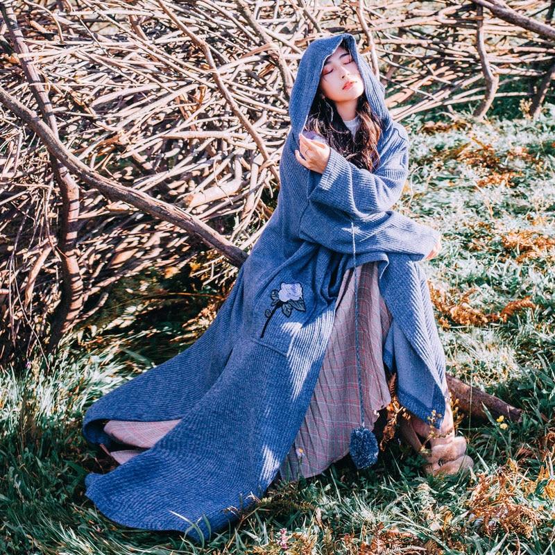Las Nuevo 2019 Punto Invierno Cachemira Azul Gran Con Primavera Chaqueta Bordado De Jersey Trench Vestido Capucha Suéter Mujeres Tamaño trgwf8qr