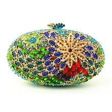 Grün Damen Kristall Kupplung Geldbeutel für Partei ovale Umhängetaschen Dame Handtasche Blume Kristalle mit Kette Link