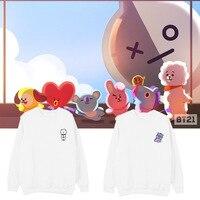 Bt21 BTS Group Harajuku Hoodies Women Bangtan Kpop Fans Capless Sweatshirt Women Hoodies Love Yourself Album Clothes