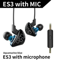 KZ ES3 BA DD In Ear Earphone Hybrid Headset HIFI Bass Noise Cancelling Earbuds With Mic