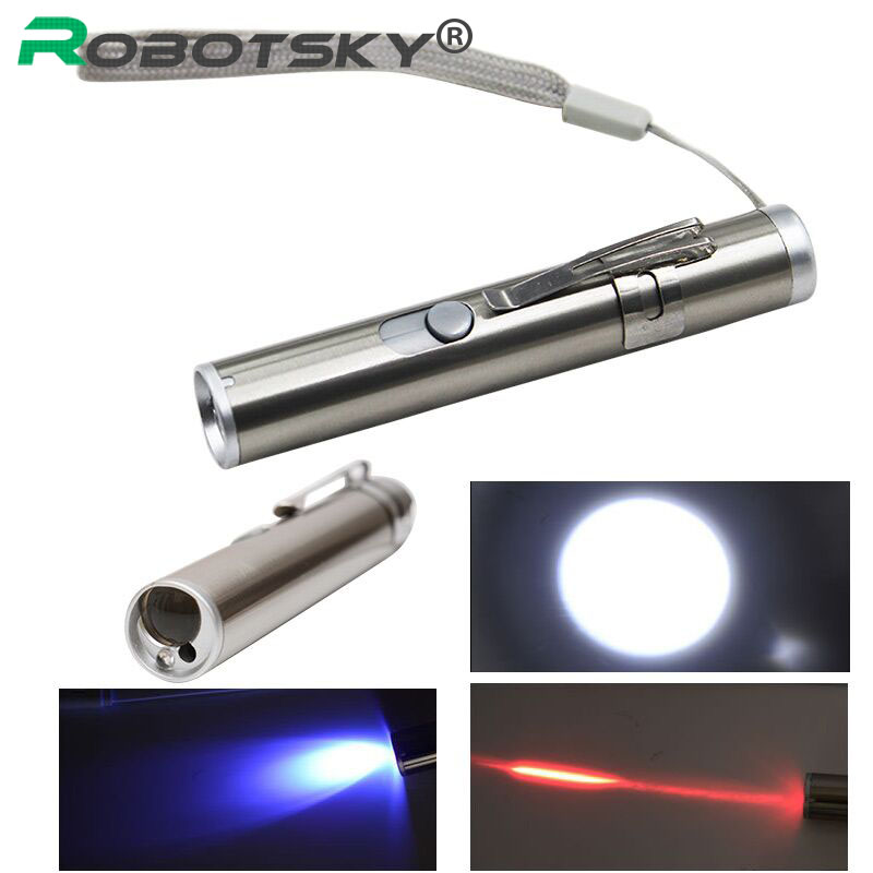 Mini USB Rechargeable 3 in1 LED Laser UV Torch Pen Flashlight Multifunction Lamp for Red laser ...