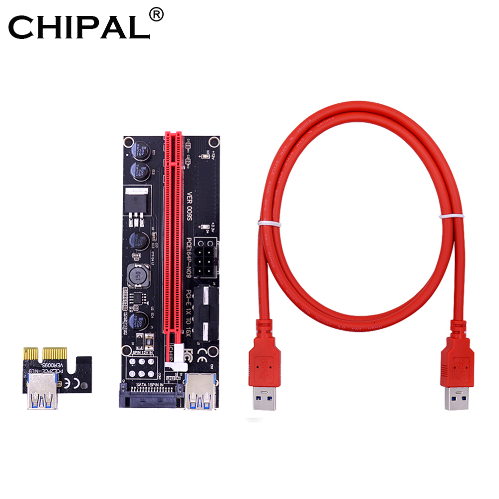 Computer & Office Diplomatic Chipal 10pcs 1m Ver009s Pci-e Riser Card 009s Pcie Pci Express 1x To 16x Extender 4pin 6pin Sata Molex Power Dual Led Indicator