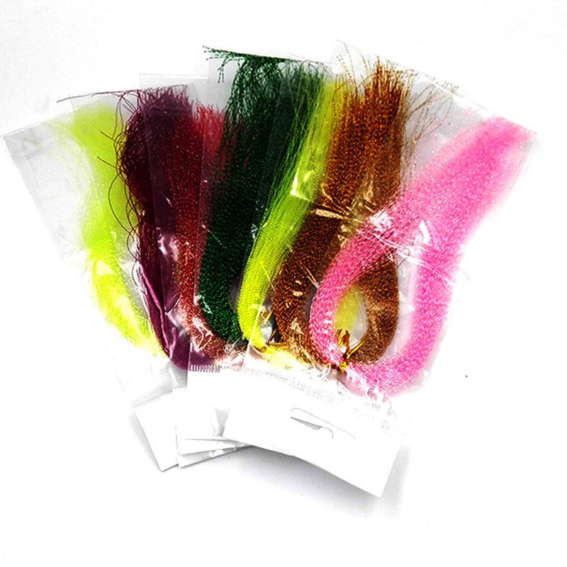 5Packs Flashabou, Holographic Tinsel Fly Fishing Tying Crystal Flash String Jig Hook, Lure Making, Fishing Material Pink red etc