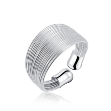 The new silver plated ring charm women bohemian multi-line LADY cute lovely nice chain open ring engagement ring