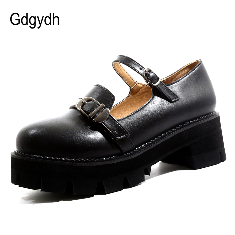5f4e912a6c05c US $28.04 49% OFF|Gdgydh High Platform Shoes Woman Rubber Sole 2019 New  Black Leather Ladies Mary Janes Fashion Buckle Thick Heels Walking Shoes-in  ...