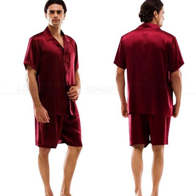 Mens De Satén de Seda Pijamas Pijamas Set Corto ropa de Dormir Loungewear Set USS, M, L, XL, 2XL, 3XL, 4XL Sólido _ _ Grandes Regalos
