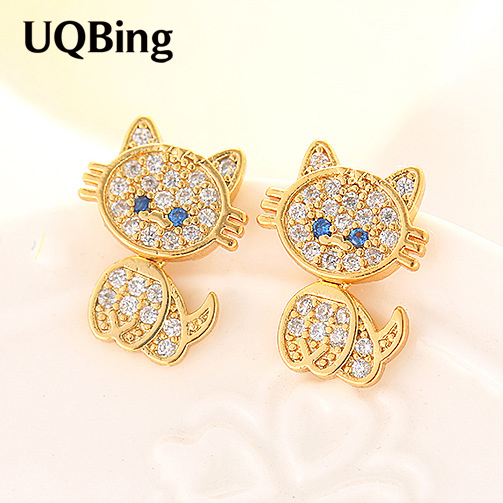 Newest Arrivals Gold/Rose Gold/Silver Crystal Cat Earrings 925 Sterling Silver Cat Stud Earrings Pendientes Brincos 3 Colors
