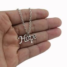 [NO Minimum]2017 New Women Men Jewelry Vintage Silver Tone Letter Hope 0.6″X1.0″ Pendant Short Necklace 4426 Free Shipping