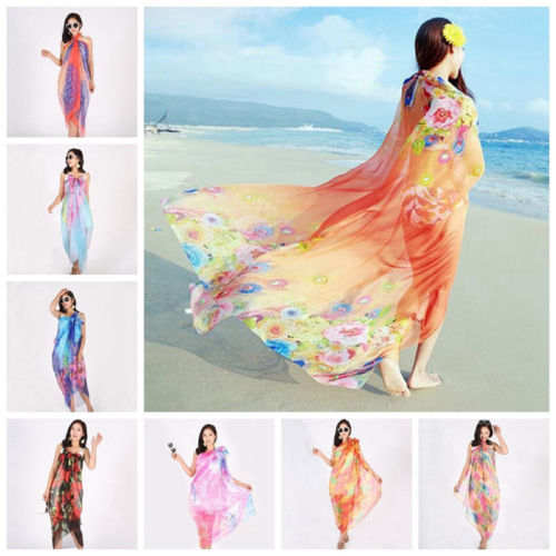 ac20ce14ec155 placeholder Women Chiffon Beach Bikini Cover Up Ladies Summer Cover-ups  Wrap Swimwear Scarf Swimming Clothing