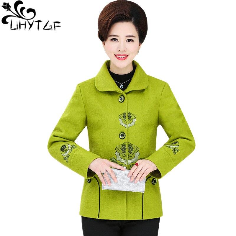 UHYTGF élégant femme manteaux mode broderie printemps automne laine veste décontracté court survêtement lâche grande taille manteau 1325