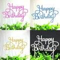 1 pc Multi-cor Cupcake Bolo Topper Bolo Feliz Aniversário Bandeiras Dupla Vara Para A Festa de Aniversário Da Família de Cozimento Decoração suprimentos