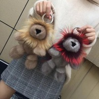 Glaforny 2019 Real Mink Fur Lion Doll Fox Fur Gift Bag Charm Keyring Pendant Accessories Fashion Girl Mink Fur Keychain Cute