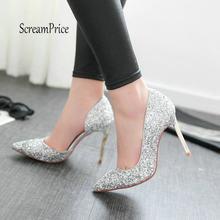 d5a668008 Moda Brilhante Lantejoulas Pano Sensuais Finos de Salto Alto Bombas Dedo Do  Pé Apontado Mulheres Sapatos de Festa de Casamento d.