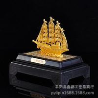 Golden appearance of the sailboat Gift home desktop decor decoration ornaments(A788)