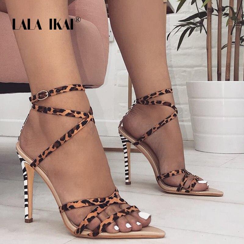 b7a28577 LALA IKAI Kobiety Leopard Sexy Lato Sandały Wąskie Pasmo Super Wysoki  Cienki Heel Buckle Pasek szpilki