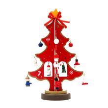 Christmas Gift 1Pcs Mini Table XMas Tree Decoration Wooden Christmas Tree With Ornament