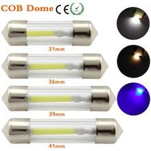 31mm 36mm 39mm 41mm C5W décoration LED lampe 12 V DE3022 6418 COB LED Filament Instrument dôme ampoule lumière blanc chaud blanc bleu 2 pièces