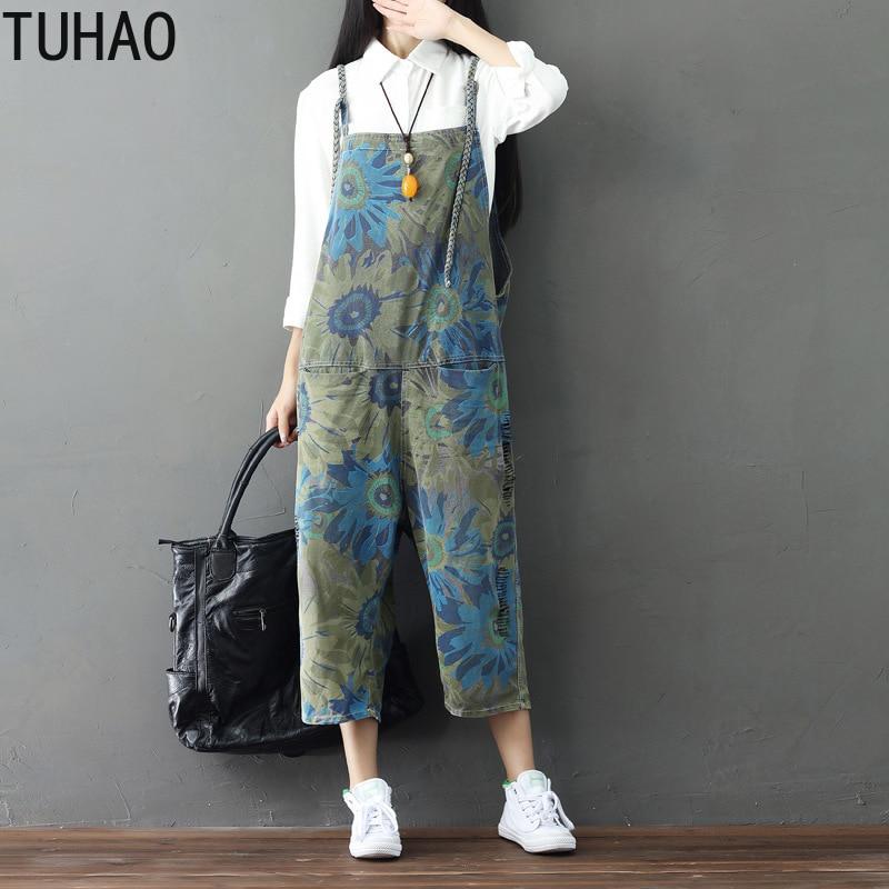 TUHAO 2019 printemps été Harajuku pantalon Large jambe combinaison rétro barboteuse pour femmes Indie Folk grande taille salopette pantalon LLJ