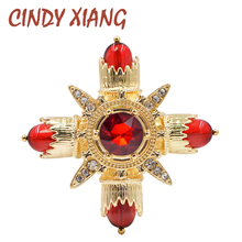 CINDY XIANG New Cross Design Red Color Brooches for Women Baroque Style Coat Accessories Wedding Brooch Pin High Quality Gift