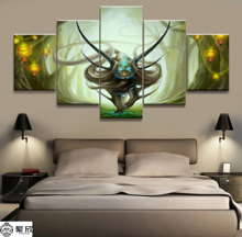 Hot Sales Without Frame 5 Panels Picture Hades Tiger Canvas Print Painting Artwork Wall Art Wholesale