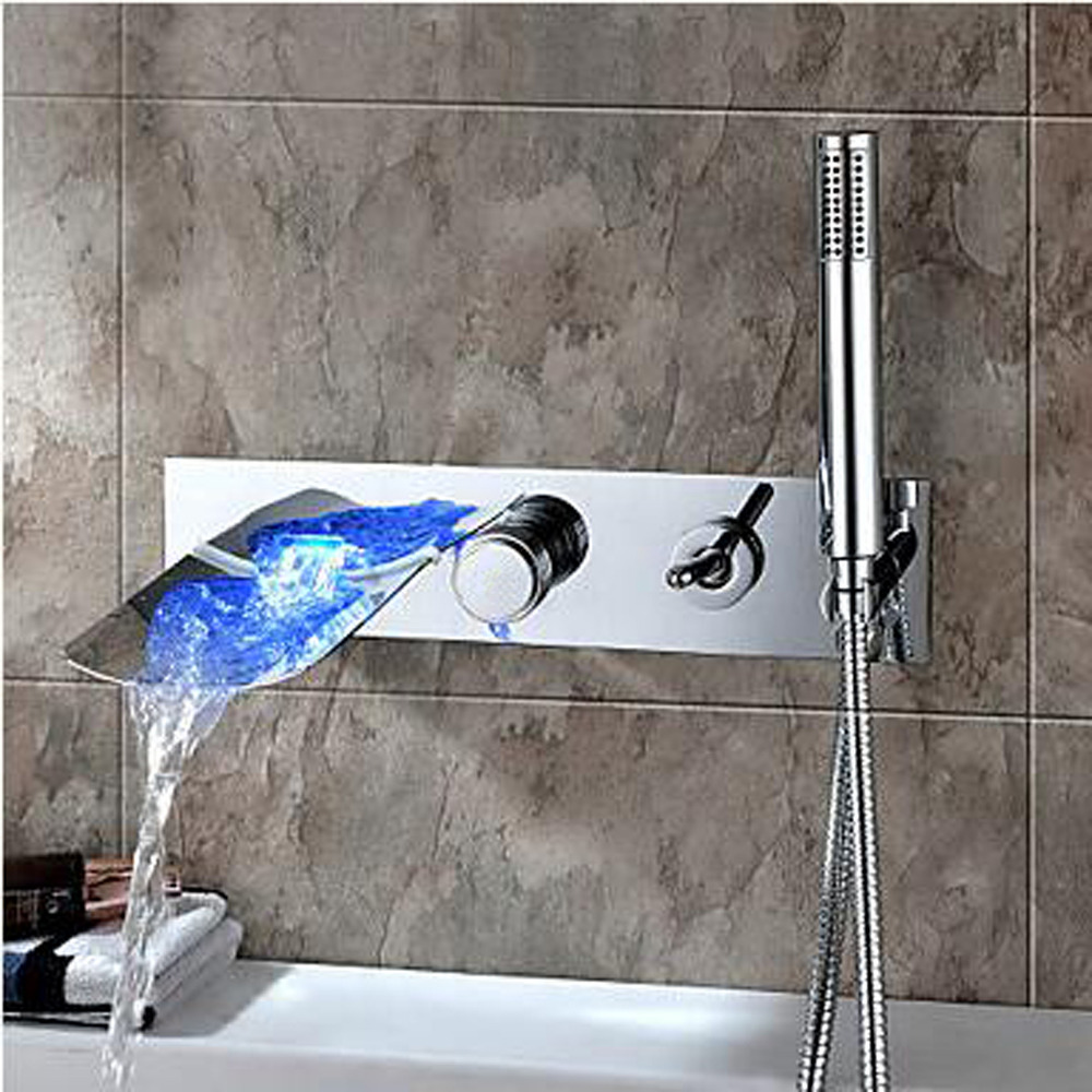 Waterfall Color Changing Wall Mount Tub Faucet With Hand Shower Set Chrome Finish contemporary chrome finish wall mount 7 color changing led showerhead silver