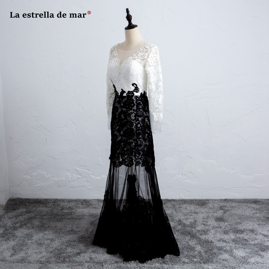 vestido de formatura longo2018 new V neck lace long sleeve sexy mermaid black white prom dress plus size evening gowns