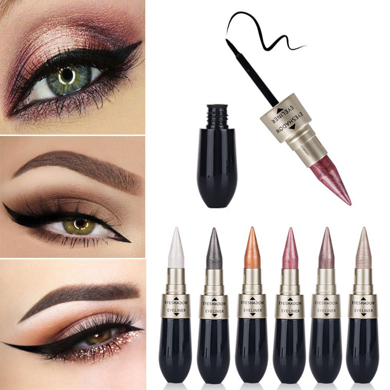 New Liquid Eyeshadow Double Head Eyeliner Pencil 6 Colors 2 In 1 Long Lasting Matte Shimmer Eye Shadow Cream Eye Pencil цена
