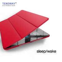 Tendway para o ar ipad 1/2/5/6/9.7 2017/2018 caso 2018 acessórios de couro inteligente capa tablet caso da aleta funda