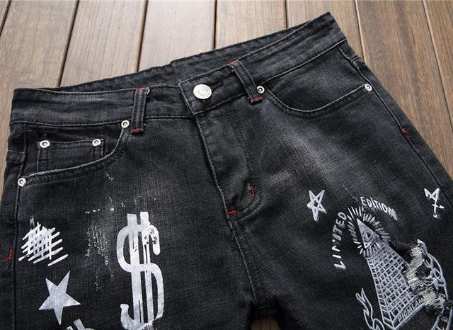 European American style Hommes jeans de marque de mode denim pantalon jeans Lettre motif maigre de luxe noir Slim jeans pour hommes