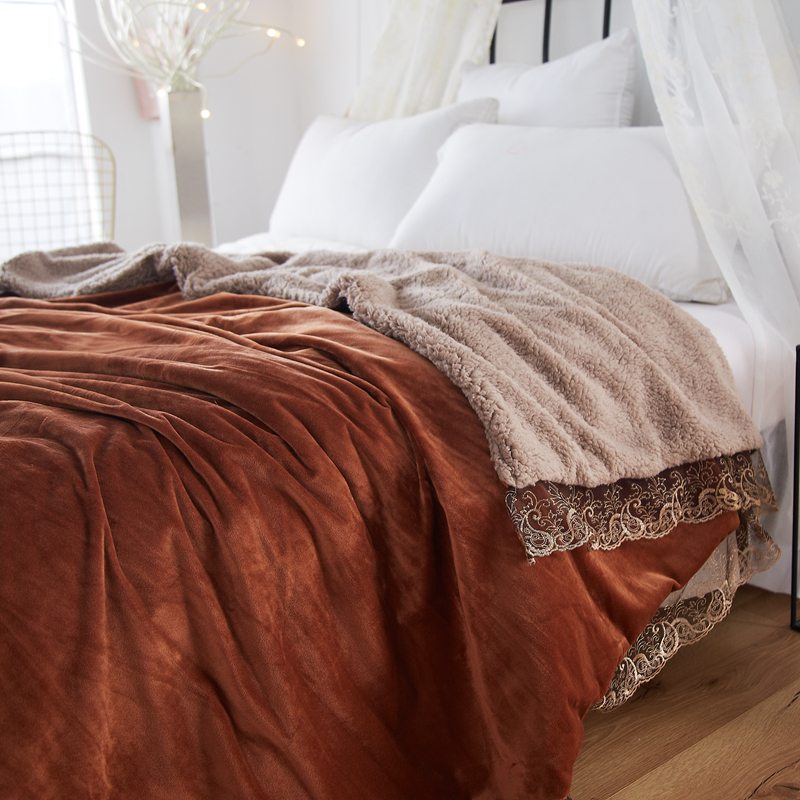 Noble Wine Red Pure Color Embroidery Lace Double-Sided <font><b>Blanket</b></font> Throw <font><b>Blanket</b></font>/Fleece <font><b>Blanket</b></font> On The Bed Soft Winter Flannel Warm